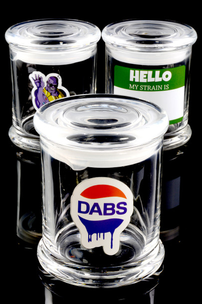 (Mix) Large Glass Jar with Decal - J0186