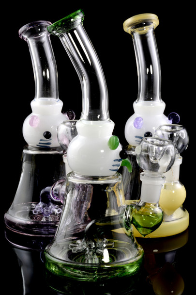 Small Stemless GoG Kitty Water Pipe with Stemline Sprinkler Perc - WP1632