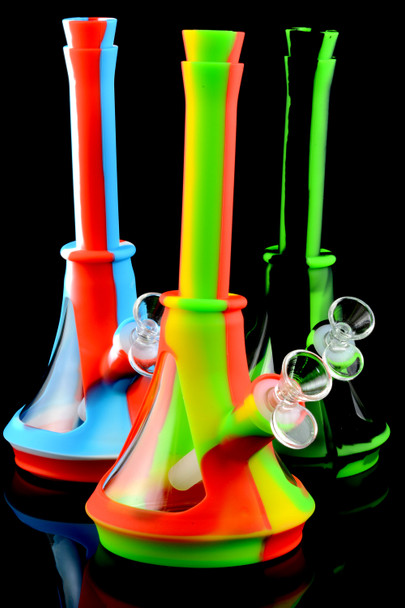 Medium Colorful Silicone Glass Chamber Water Pipe - WP1772