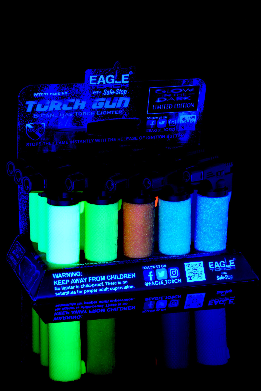 15 Pc Glow in the Dark Eagle Torch Gun Lighter Display - L0195