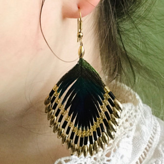 Green Peacock Earrings