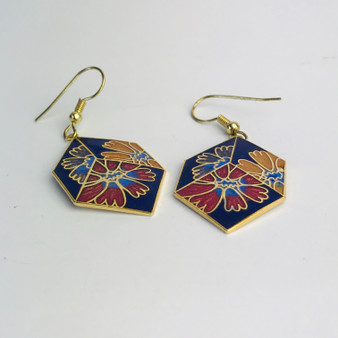 3 Flower Cube Cloisonné Earrings