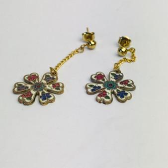 Pendant Flower Cloisonné Earrings