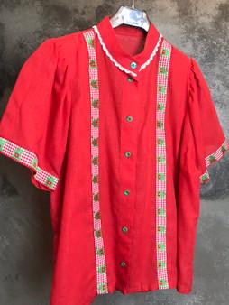 Camisa Tirolesa vermelha de Algodão