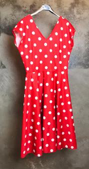 Vestido Vermelho 70s com Bolinhas Brancas