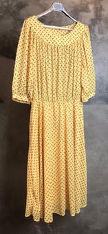 Vestido Amarelo com Bolinhas Pretas Anos 80