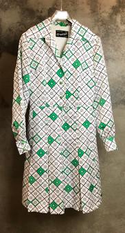 Vestido Anos 70 Branco e Verde
