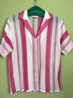 Camisa Riscas Rosa, Vermelho e Verde Anos 80