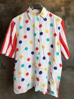Camisa de Bolinhas e Riscas Coloridas Anos 80