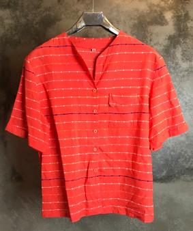Camisa Laranja com Riscas Bordadas Anos 80