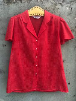 Camisa Vermelha com Bolinhas Brancas 80s