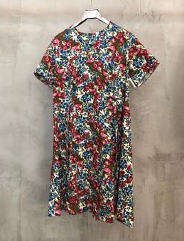 Vestido com Flores Rosa e Azul Anos 60