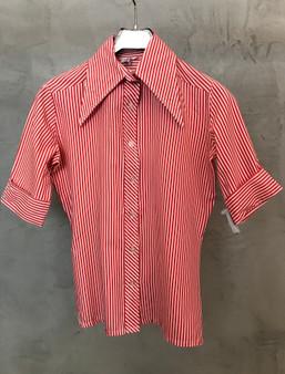 Camisa 70s Riscas Vermelho e Branco