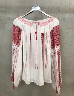 Blusa Étnica Romena com Bordado Vermelho e Preto