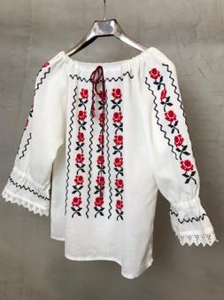 Blusa Étnica da Roménia Bordada à Mão