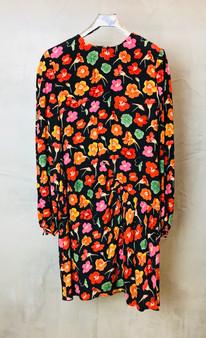Vestido de Flores dos Anos 90 em tecido sintético Feito à Mão e Forrado a Seda