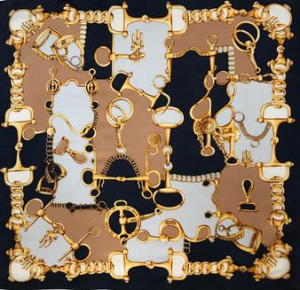 Lenço vintage CODELLO, com arreios dourados // CODELLO vintage scarf with golden harness