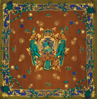 "Lenço vintage em seda ""Coroa e Condecorações"" // Vintage silk scarf ""Crown and Decorations"""