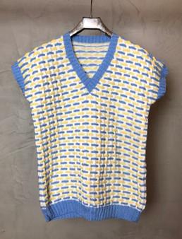 Colete Vintage Azul e Amarelo Anos 80