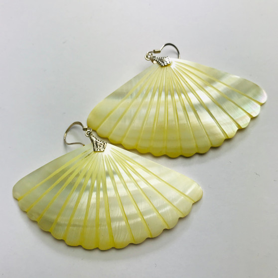 Yellow Triangle Shell Earrings Mother of Pearl