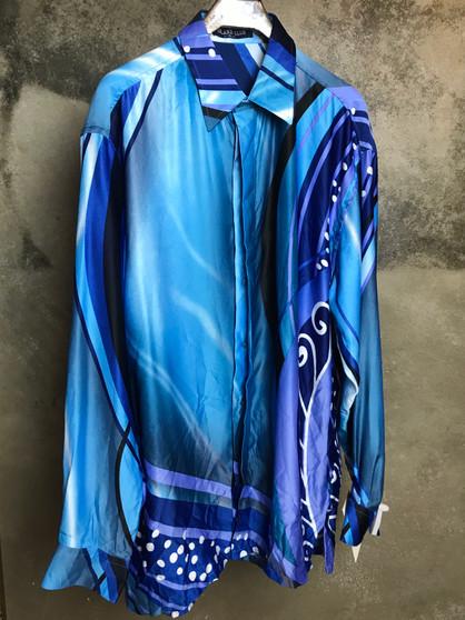 Camisa de Cetim Azul com Cornucópias