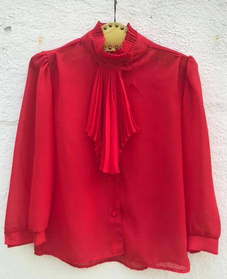 Camisa Vermelha Anos 90 com Plissado