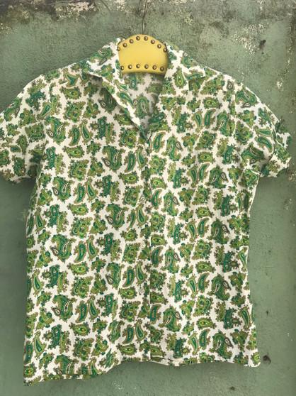 Camisa Verde com Cornucópias Anos 50