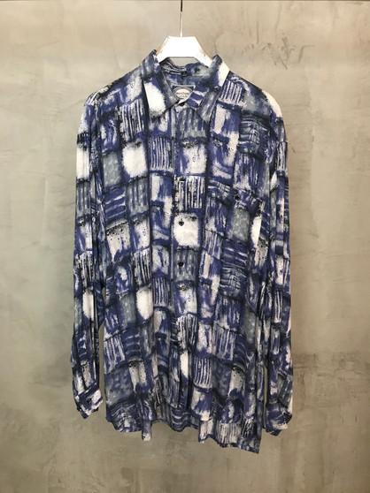 Camisa 90s Abstracta Tons Azuis