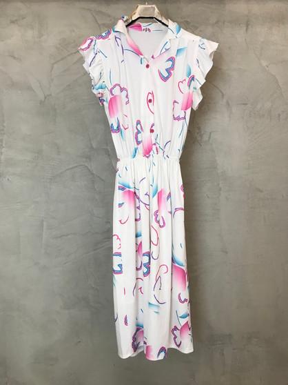 Vestido Branco com Print Rosa e Azul Anos 80