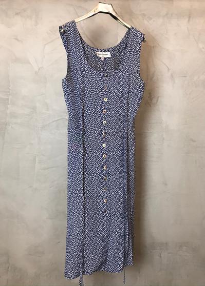 Vestido Azul com Flores Brancas Anos 90