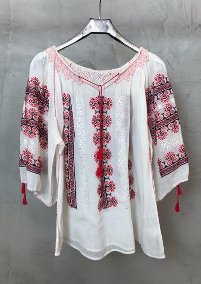Blusa Étnica da Roménia com Bordado Vermelho Anos 50