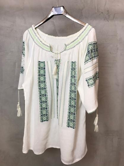 Blusa Étnica Romena com Bordados Verdes