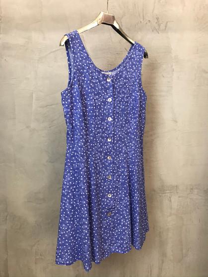 Vestido Azul com Bolinhas Brancas de Alças Anos 90