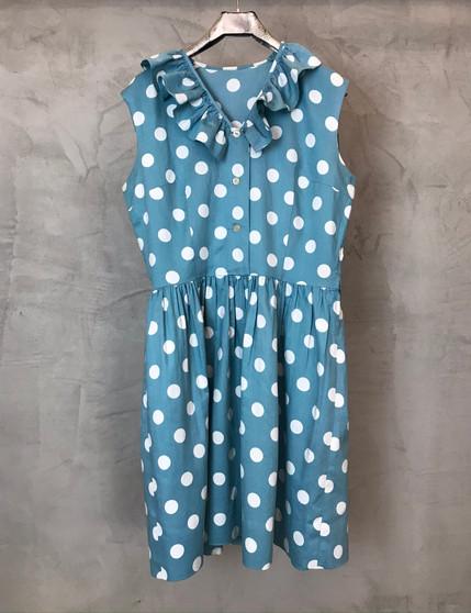 """Vestido """"50s Inspired"""" Azul com Bolinhas Brancas"""