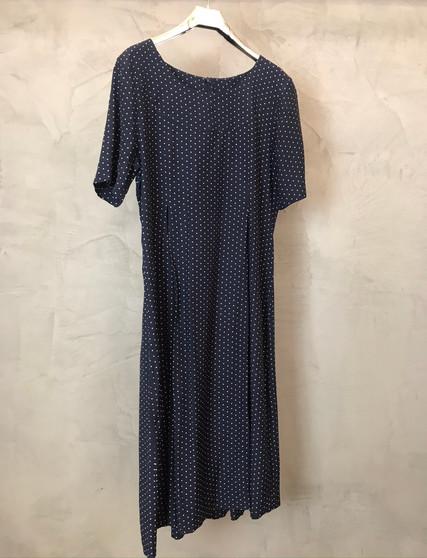 Vestido Clássico Azul Escuro com Bolinhas Brancas Anos 90