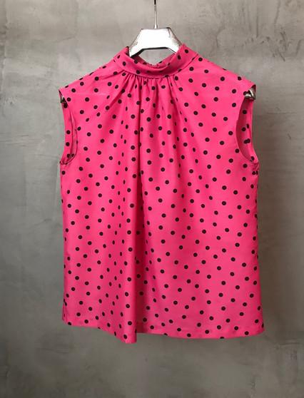 Blusa Rosa com Bolinhas Pretas Anos 60