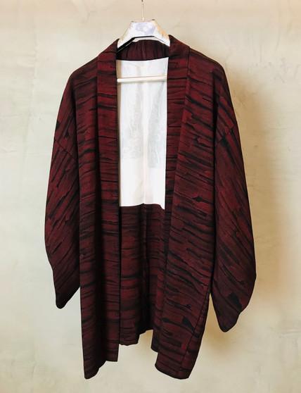 "Kimono Japonês Bordeaux e Preto ""Lava"""