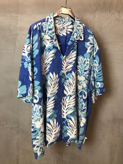 Hawaiian Shirt Azul com Folhas