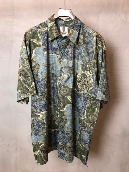 Hawaiian Shirt Verde e Azul Anos 80