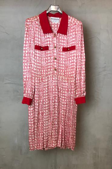 """Vestido em Seda Feito à Mão Anos 90 """"Adolfo"""" NY"""