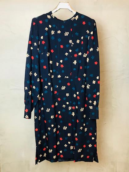 Vestido em Lã dos Anos 90 Feito à Mão e Forrado a Seda