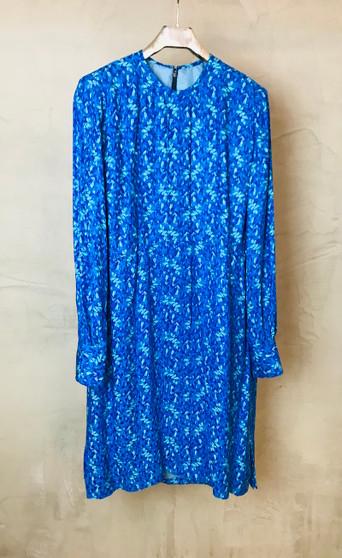 Vestido Azul em Seda dos Anos 90 Feito à Mão e Forrado a Seda