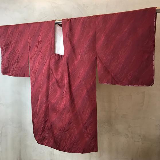 Kimono Japonês em Tons Púrpura com Print  Ondulado