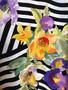 Camisa Padrão Abstrato de Riscas e Flores