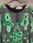 Vestido Verde Psicadélico de Seda dos Anos 60