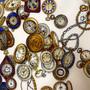 """Lenço em Seda """"Relógios"""" Mantero VIII // Mantero VIII """"Clocks"""" Vintage Silk Scarf"""