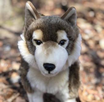 """14"""" Remus Standing Plush Timber Wolf"""