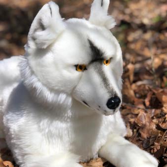 Oswego  20 Inch Artic Wolf Laying