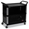 Rubbermaid Commercial Xtra Equipment Cart, 300lb Cap, 3-Shelf, 20 3/4w x 40 5/8d x 37 4/5h, Black