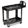 Rubbermaid Commercial Heavy-Duty Utility Cart, 2-Shelf, 17-7/8w x 39-1/4d x 33-1/4h, Black